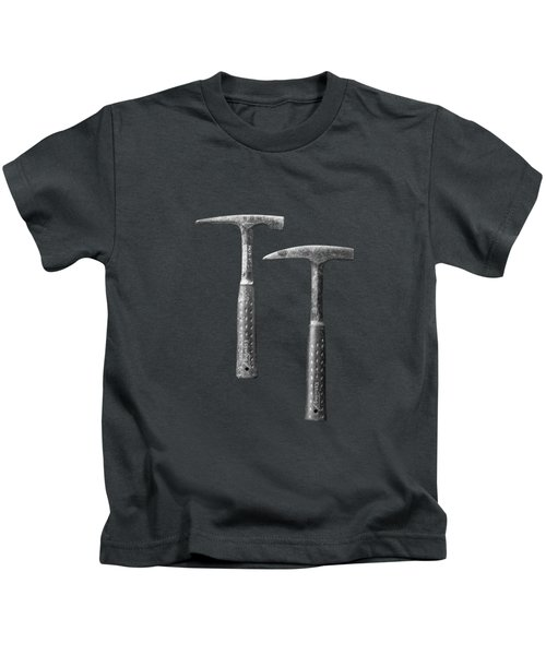 Rock Hammers On Plywood In Bw 65 Kids T-Shirt