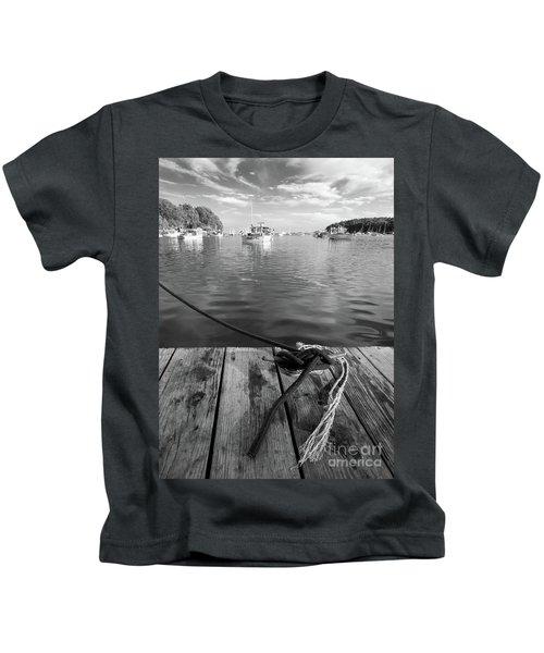 Rockport Harbor, Maine #80458-bw Kids T-Shirt