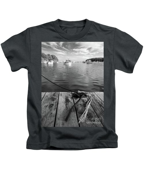 Rockport Harbor, Maine #80458-bw Kids T-Shirt