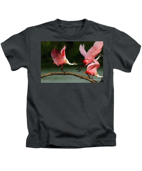 Rosiette Spoonbills Lord Of The Branch Kids T-Shirt by Bob Christopher