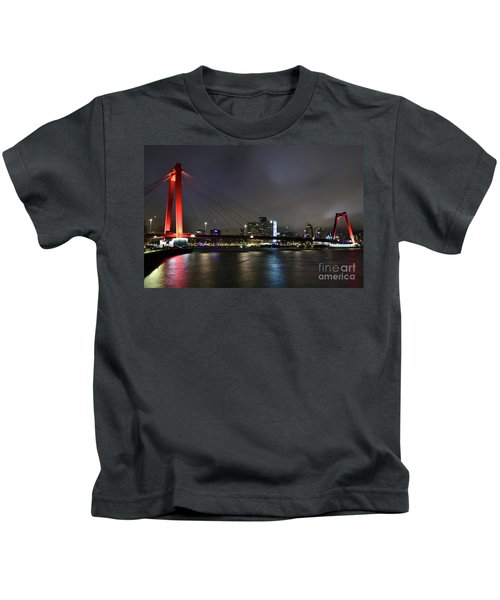 Rotterdam - Willemsbrug At Night Kids T-Shirt