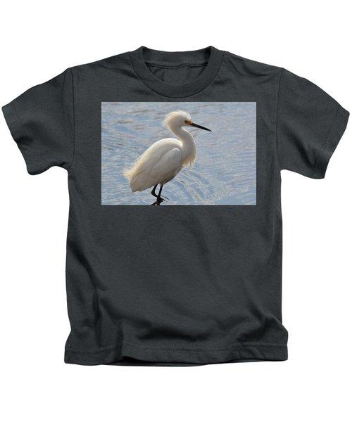 Ruffled Egret Kids T-Shirt