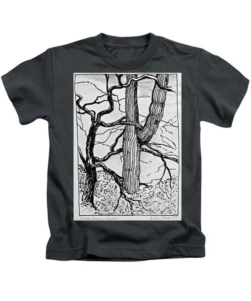 Sabino Canyon Couple - Black And White Kids T-Shirt
