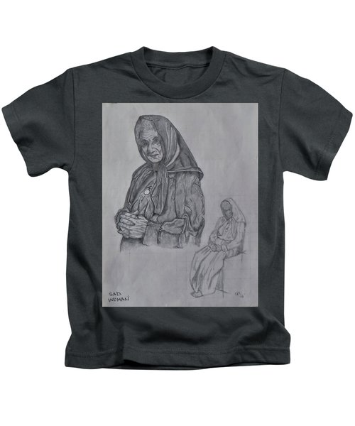 Sad Woman Kids T-Shirt