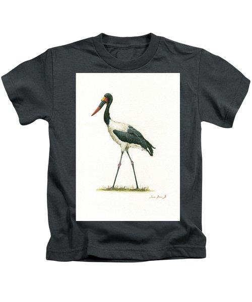 Saddle Billed Stork Kids T-Shirt