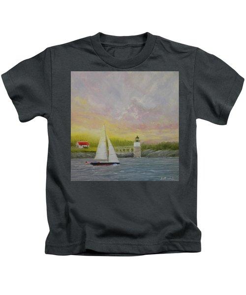 Sailing By Ram Island Kids T-Shirt