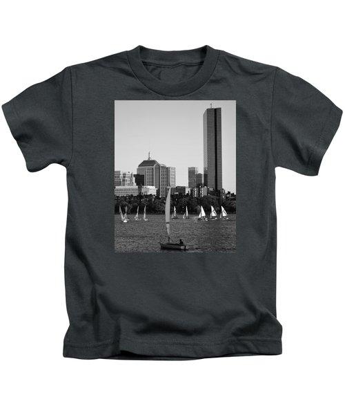Sailing The Charles River Boston Ma Black And White Kids T-Shirt
