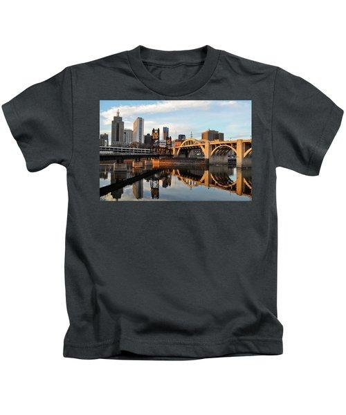 Saint Paul Mississippi River Sunset Kids T-Shirt