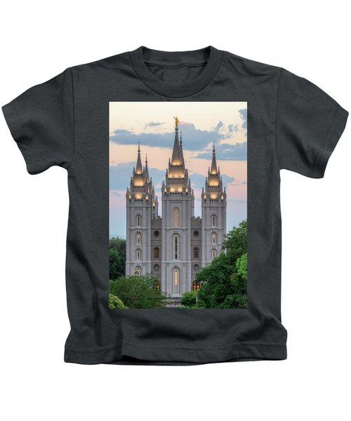 Salt Lake City Temple Morning Kids T-Shirt