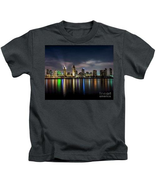 San Diego Skyline At Night Kids T-Shirt