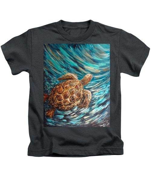 Sea Turtle Wave Guam Kids T-Shirt