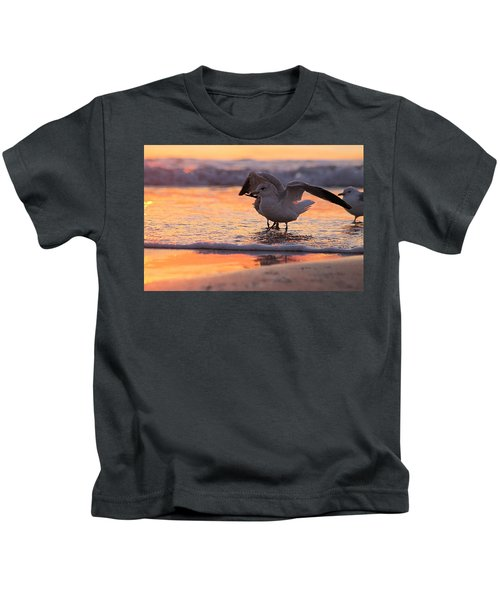 Seagull Stretch At Sunrise Kids T-Shirt
