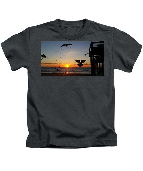 Seagulls At Sunrise Kids T-Shirt