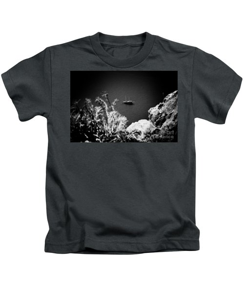 Seascape With Boat Artmif.lv Balck And White Kids T-Shirt