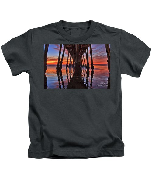 Seaside Reflections Under The Imperial Beach Pier Kids T-Shirt