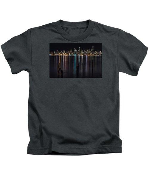 Seattle At Night Kids T-Shirt