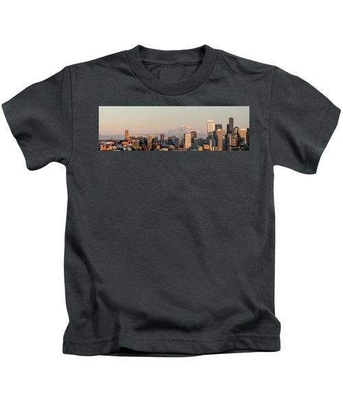 Seattle Panorama At Dusk Kids T-Shirt