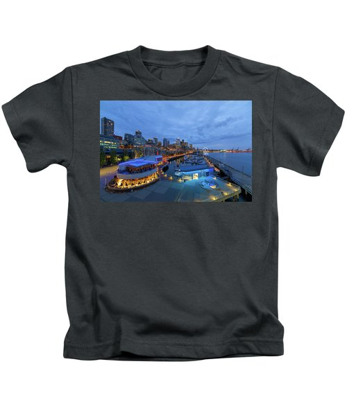 Seattle Skyline From The Waterfront At Blue Hour Kids T-Shirt