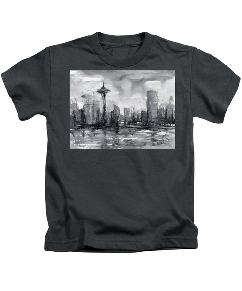 Seattle Skyline Painting Watercolor  Kids T-Shirt by Olga Shvartsur