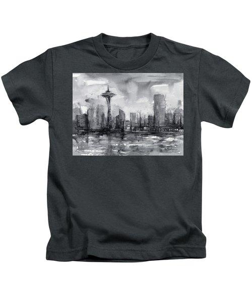 Seattle Skyline Painting Watercolor  Kids T-Shirt