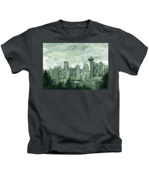 Seattle Skyline Watercolor Space Needle Kids T-Shirt