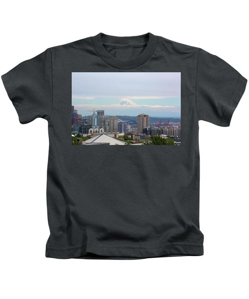 Seattle Skyline With Mt Rainier In Clouds Kids T-Shirt