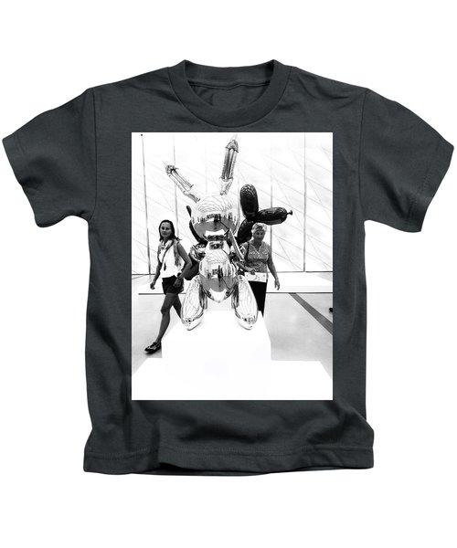 Self Portrait In Jeff Koons Mylar Rabbit Balloon Sculpture Kids T-Shirt