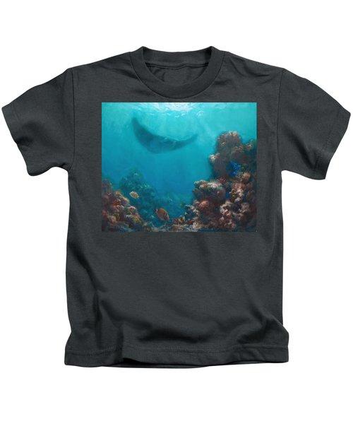 Serenity - Hawaiian Underwater Reef And Manta Ray Kids T-Shirt