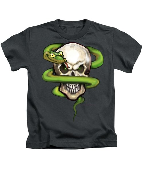 Serpent Evil Skull Kids T-Shirt by Kevin Middleton