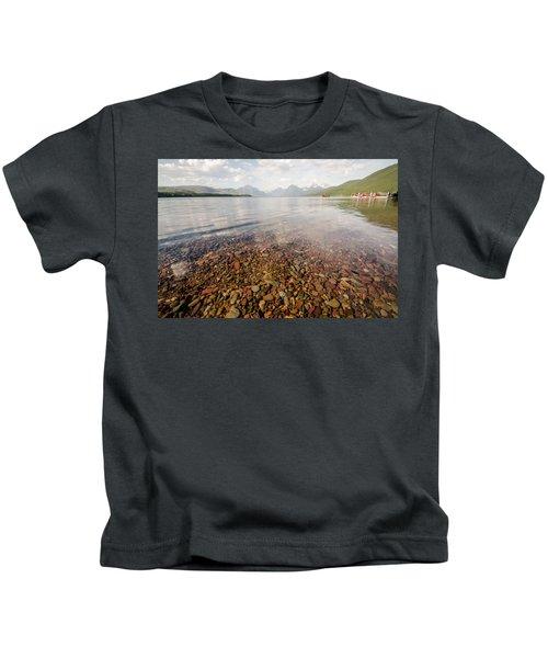 Setting Sun On Lake Mcdonald Kids T-Shirt