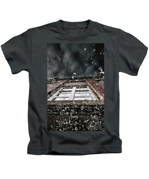 Shattering Pieces Of Glass Falling From Window Kids T-Shirt