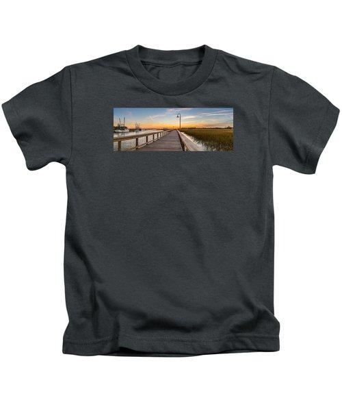 Shem Creek Pier Panoramic Kids T-Shirt