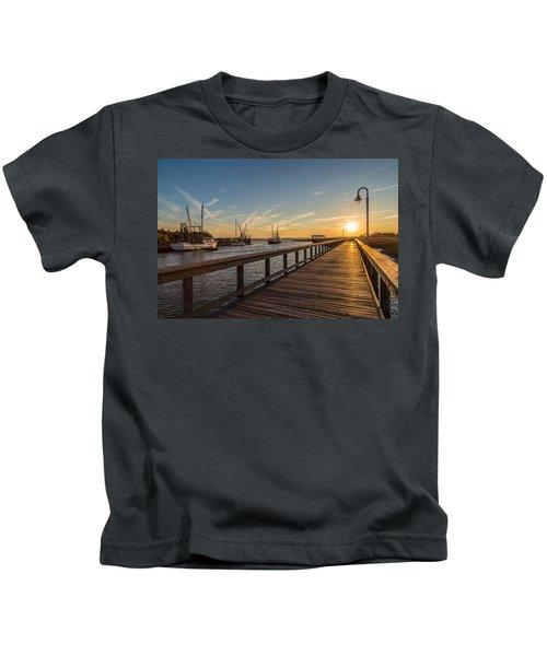 Shem Creek Pier Sunset - Mt. Pleasant Sc Kids T-Shirt