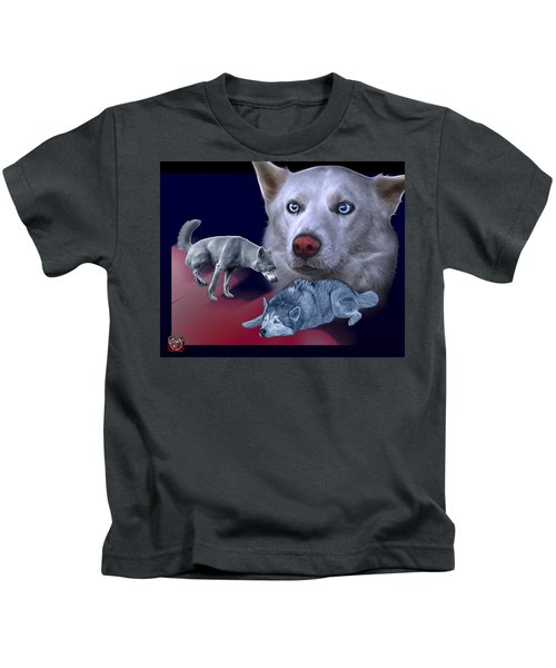 Siberian Husky - Modern Dog Art - 0002 Kids T-Shirt