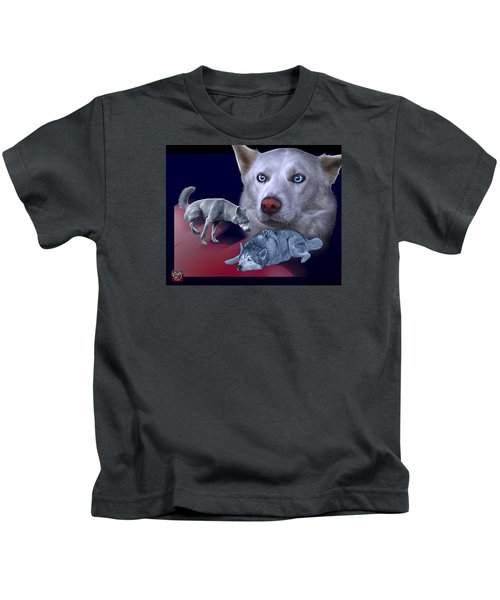 Siberian Husky - Modern Dog Art - 0002 Kids T-Shirt