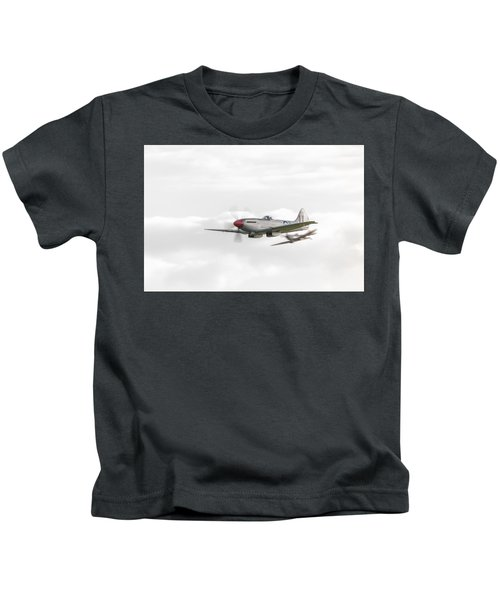 Silver Spitfire In A Cloudy Sky Kids T-Shirt