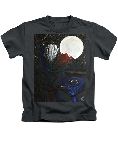 Similar Alien Appreciates Flowers By The Light Of The Full Moon. Kids T-Shirt