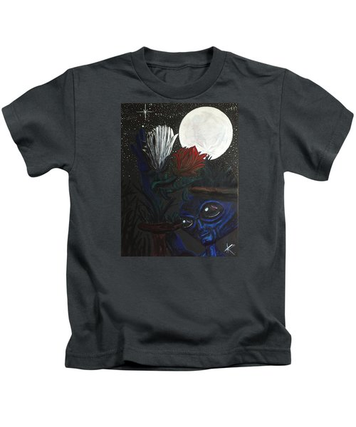 Similar Alien Appreciates Flowers By The Light Of The Full Moon. Kids T-Shirt