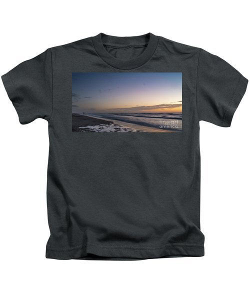 Single Man Walking On Beach With Sunset In The Background Kids T-Shirt
