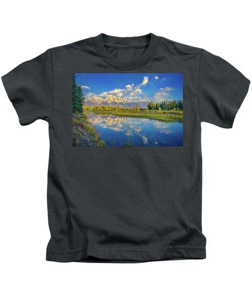 Snake River Reflection Grand Teton Kids T-Shirt