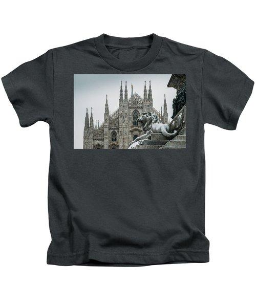 Snow At Milan's Duomo Cathedral  Kids T-Shirt
