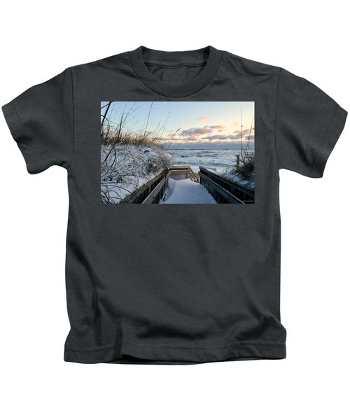 Snow Day At The Beach Kids T-Shirt