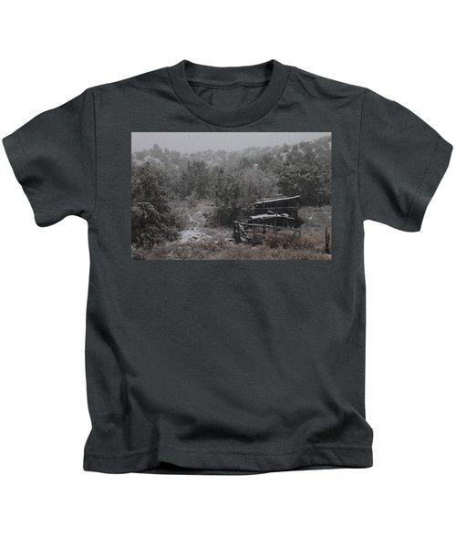 Snow In The Old Santa Fe Corral Kids T-Shirt