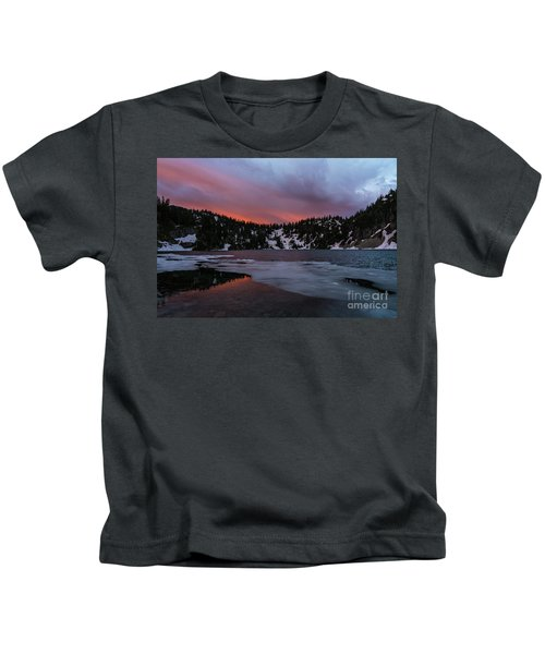 Snow Lake Icy Sunrise Fire Kids T-Shirt