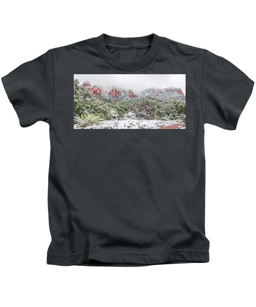 Snow On Red Rock Kids T-Shirt