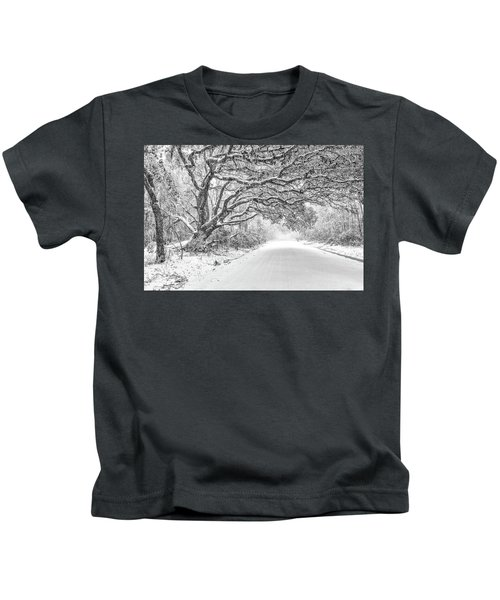 Snow On Witsell Rd - Oak Tree Kids T-Shirt