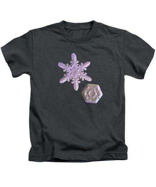 Snowflake Photo - Two Hearts Kids T-Shirt