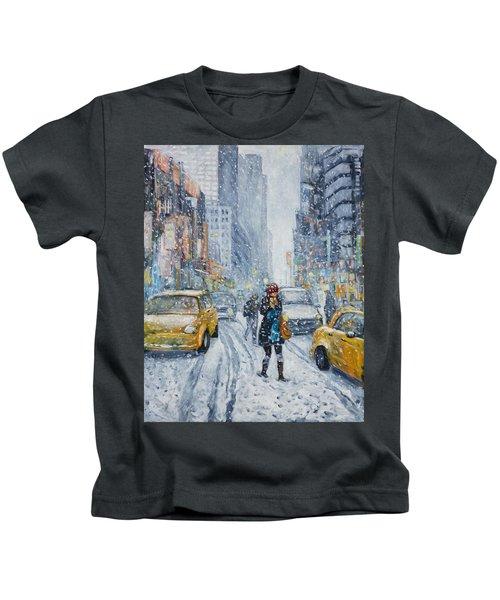 Urban Snowstorm Kids T-Shirt