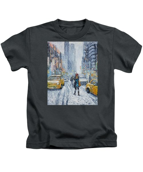 Urban Snowstorm Kids T-Shirt
