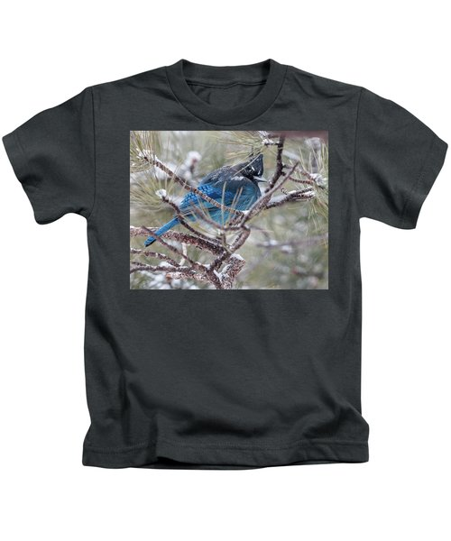 Snowy Bluejay  Kids T-Shirt